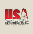 letters usa with the image of the capitol building vector image vector image