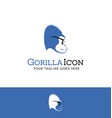 logo design of a blue gorilla wearing glasses vector image vector image