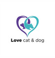love cat and dog logo vector image vector image