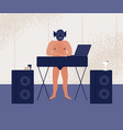 male dj in angry monster mask and naked torso vector image