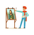male painter artist character with mustache vector image vector image