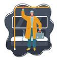 man in subway car vector image