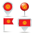 Map pins with flag of Kyrgyzstan vector image