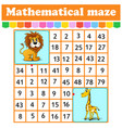 mathematical rectangle maze lion and giraffe game vector image