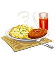 mushed potatoes with cutlet vector image vector image