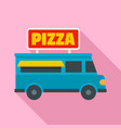 pizza truck icon flat style vector image vector image