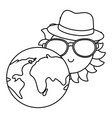 planet and sun cartoon in black and white vector image vector image