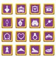 princess doll icons set purple square vector image