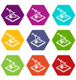 ring d printing icons set 9 vector image vector image