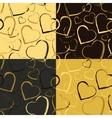 set golden hearts seamless patterns vector image vector image