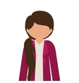 Silhouette half body girl with jacket without face vector image