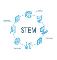 stem isometric concept connected line 3d icons vector image vector image