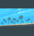 sunset background with palm trees vector image vector image