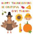 thanksgiving set a turkey a pumpkin vector image