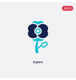 two color poppy icon from desert concept isolated vector image