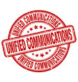 unified communications red grunge stamp vector image vector image