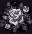 vintage monochrome rose with leaves on black backg vector image vector image