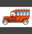 vintage orange old mini bus isolated on white vector image vector image