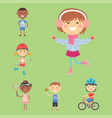 young kids sportsmens future roller skates vector image vector image