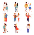 young men and women characters in love hugging set vector image vector image
