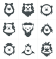 Black lion face icon isolated on white vector image