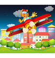 A red plane with a boastful tiger vector image vector image