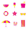 beach items in pink and yellow color vector image vector image