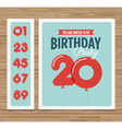 birthday card balloons numbers vector image