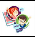 boy and girl talking online communication vector image vector image