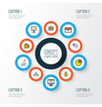 business icons colored line set with comment id vector image