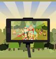cartoon people characters in forest taking selfie vector image vector image
