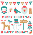 christmas clip art and decoration set vector image vector image