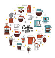 colorful poster of coffee shop with several icons vector image vector image