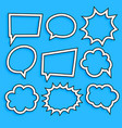 comic chat bubbles and expression set in line vector image vector image