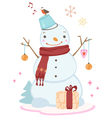 cute Christmas snowman wearing a scarf vector image