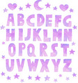 cute pink watercolor effect font vector image
