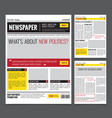 daily newspaper design template vector image vector image
