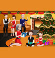 family having a christmas party vector image vector image