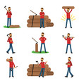 Flat woodcutter cartoon character set in different