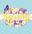 floral card template with calligraphic text spring vector image