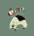funny cartoon santa claus giving gifts to animals vector image vector image