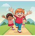 group boy and girls running happy celebration vector image