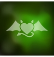 heart devil icon on blurred background vector image
