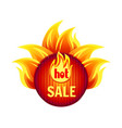 hot sale best offer round badge with flame splash vector image vector image