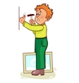 Ill little man hammers a nail to hang a picture vector image vector image