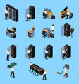 it engineer isometric set vector image vector image