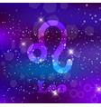 leo zodiac sign on a cosmic purple background