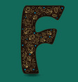 letter f with golden floral decor vector image vector image