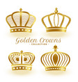 luxury golden royal crowns set four vector image