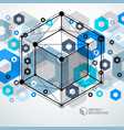 modern abstract cubic lattice lines blue vector image vector image